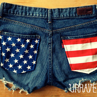 Levis Denim Shorts American Flag Size SMALL by UnraveledClothing