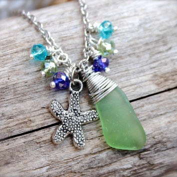 Starfish Anklet - Sea Glass Jewelry from Hawaii - Starfish Jewelry - Nautical Ankle Bracelet - Sea Glass Anklet - Hawaiian Jewelry from Oahu
