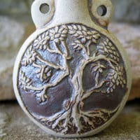Tree of Life Bottle Pendant Ceramic Prayer by jewelrycatsupplies