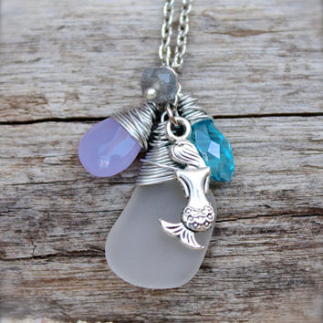 Mermaid Necklace - Beach Boho Jewelry from Hawaii - Mermaid Jewelry - Sea Glass Necklace - Seaglass Jewelry made in Hawaii - Boho Necklace