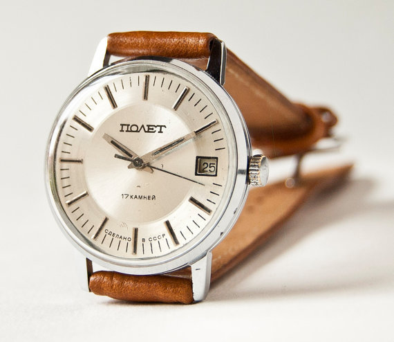 Mens wristwatch Poljot vintage mechanical watch by SovietEra