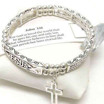 Inspirational John 3:16 Message Engraved Stretch Bracelet