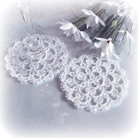 Wedding White Lace Coasters - Set of Two - Rosetta - Size 1