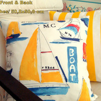 Kids Nautical Boat Stripe 20x20 Pillow cover – Duralee style