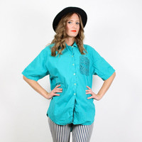 Vintage Teal Green Shirt 1980s 80s Shirt Crochet Netting Cut Out Cut Outs Bali Blouse Top Bright Aqua Doily Button Up Button Down M Medium