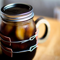 Stout 16 oz. Mason Jar Mug - Wooden handle securely wired over non-slip gasket strips