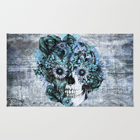 Blue grunge ohm skull Rug by Kristy Patterson Design