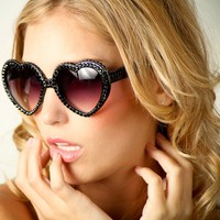 Lolita Heart-Shaped Swarovski Crystal Sunglasses - Black with Black - Designed & Made in the USA