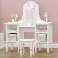 Costco - Cafekid White Bookcase Vanity and Stool Set