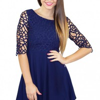 Navy Crochet Sleeved Skater Dress
