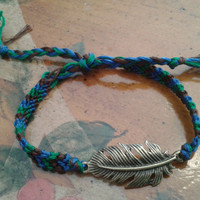Custom Color Friendship Bracelet with Feather by BraceletsByCrista