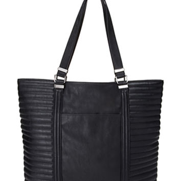 Ribbed Faux Leather Tote