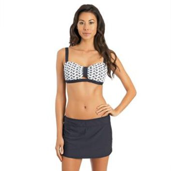 Athena - Moroccan Tile Molded Cup Bikini & Finesse Solid Swim Skirt