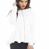Zip Front Peplum Cream Jacket