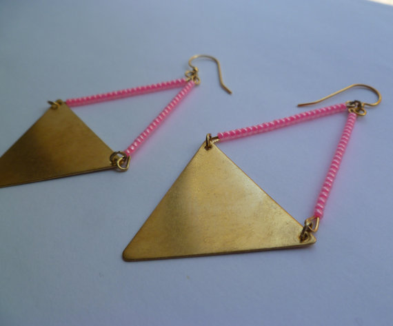 Neon pink earrings brass triangle statement by littlepancakes