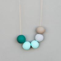 Mint and grey Polymer Clay  Necklace, Round Beads Necklace,Geometric Necklace , Boho Necklace,Handmade clay beads necklace