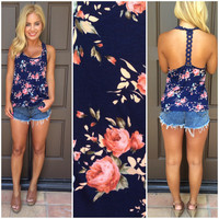 Wild Roses In Bloom T-Back Tank - ROYAL BLUE