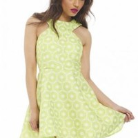 Textured Printed Kick Out Skater Lime Dress