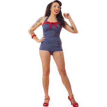 "Women's ""Dot"" One Piece Bathing Suit by Pinky Pinups (Blue/White)"