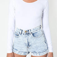 Acid Wash High-Waist Jean Cuff Short