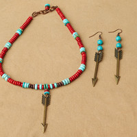 Jewelry Set, Arrow Necklace Set ,Turquoise Haven Set