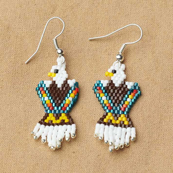 Native American Jewelry ,Beaded Eagle Earrings, Turquoise, beaded jewelry