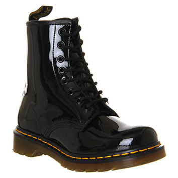 Dr. Martens 8 Eyelet Lace Up Boot Black Patent - Ankle Boots