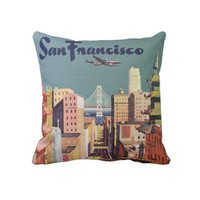 Vintage Travel Poster, San Francisco, California Pillow from Zazzle.com