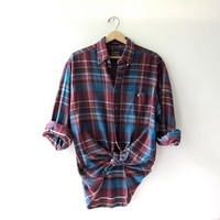 Vintage purple blue boyfriend flannel / Grunge Shirt