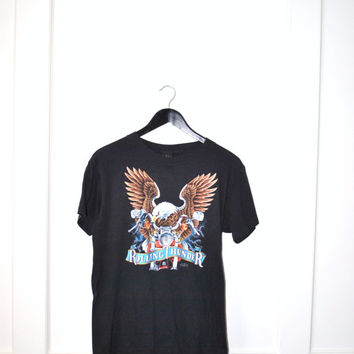 80s rolling thunder motorcycle Tshirt / eagle graphic t