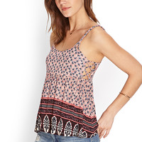 Floral Print Lattice Cami