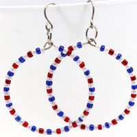 Red White and Blue Artisan Made Dangle Hoop by SeventhChild