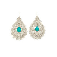 RHINESTONE TEARDROP FILIGREE STATEMENT EARRINGS