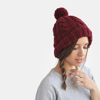 Ready to Ship, Hand Knit Beanie in Burgundy, Cable Knit Womens Winter Hat with Pom Pom, Unisex Ski Hat, Mens Wool Hat / Hand Knitted