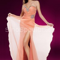 Orange A-line Sweetheart Neckline Beadings Chiffon Homecoming Dress -SinoSpecial.com