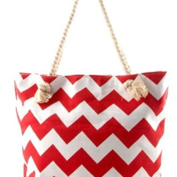 In Style Red Chevron Twist Top Handle Canvas Tote Bag