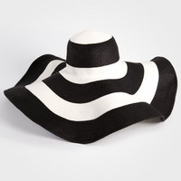 Black &amp; White Stripe Beach Hat - Giant Floppy San Diego Hat Co Hat