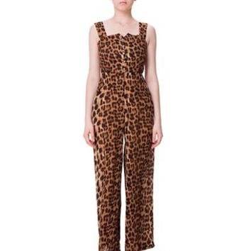 Zlyc Women's Leopard Print Plain Seam Jumpsuit with Wide Leg
