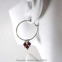 Niobium Hoops with Red Swarovsky Crystal 1.75 inch Nickel Free - Naturally Nickel Free