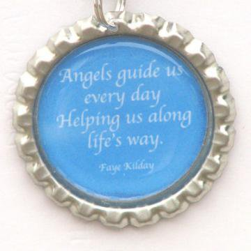 Angels Guide Us Poem Bottle Cap Pendant by FayeKilday on Zibbet