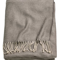 H&M - Herringbone Patterned Throw - Dark gray