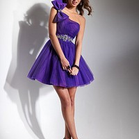 Buy One Shoulder Homecoming Dress With Tulle Skirt