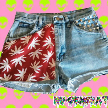 Maryjane Cannabis Red and White Denim High Waist Shorts