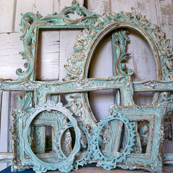 Frame grouping ornate distressed aqua white by AnitaSperoDesign