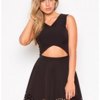 Black Laser Cut Bottom Mini Dress