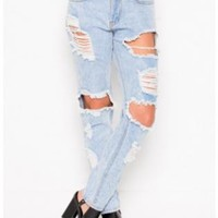 Shredded Loose Fit Light Wash Blue Jean