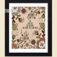 Quiet Poster The Quieter You Become The More You Can Hear Mindfulness Floral Art Print 8x10 Brown Tan Beige Neutral Inspirational