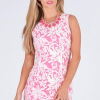 Pink Floral Embroidered Shift Dress