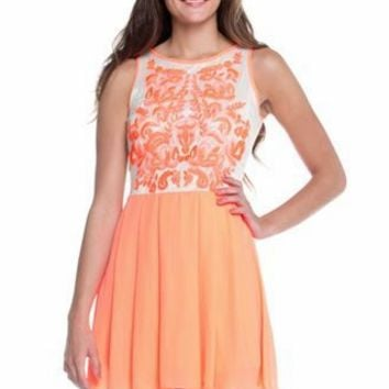 Bright Peach A-line Dress