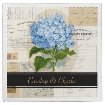Vintage Blue Hydrangea French Wedding Napkins